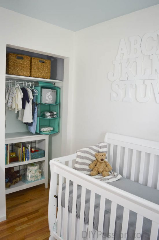Gender Neutral Nursery with Aqua and Wicker Closet Nook