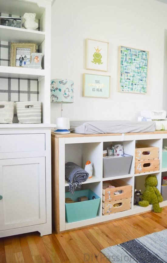 Gender Neutral Nursery with DIY art and repurposed furniture