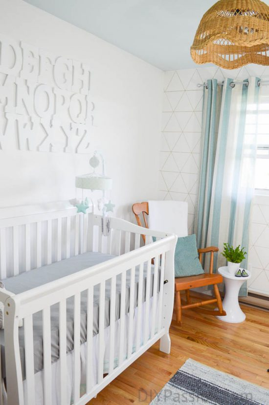 Gender Neutral Nursery with Geometric and Alphabet Accent Wall