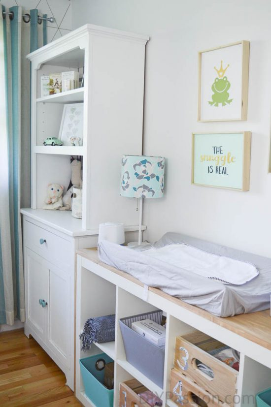 Gender Neutral Nursery with Ikea Hack Change Table
