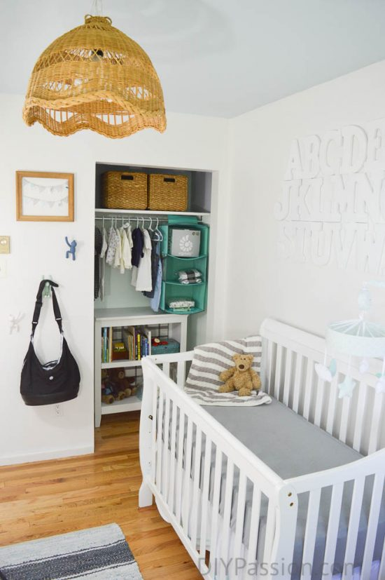 Gender Neutral Nursery with a Vintage Basket Pendant Light