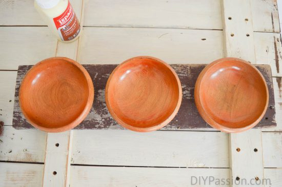 Thrifted Bowls repurposed with Reclaimed Wood Centrepiece