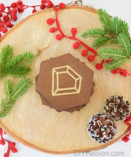 DIY Leather Gemstone Coasters