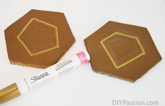 Make DIY Leather Coasters with metallic accents and cork backs