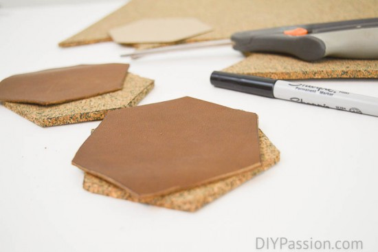 Use a template to cut leather coasters