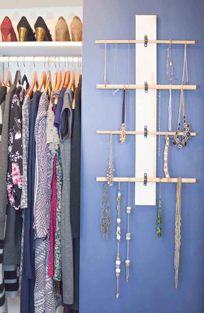 How To Make A Classic Jewelry Wall Organizer With Dowels