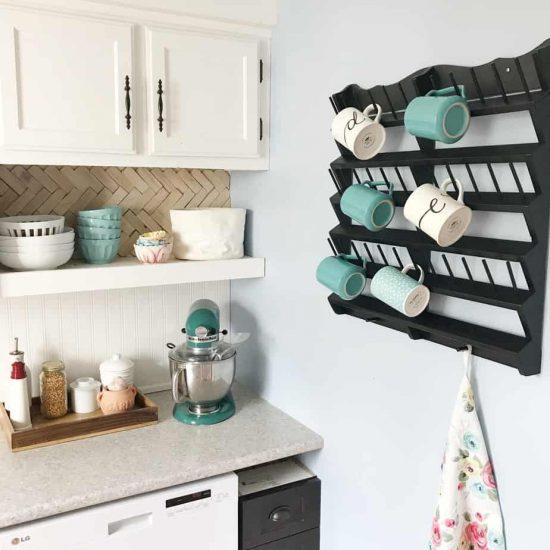 wall mounted mug rack