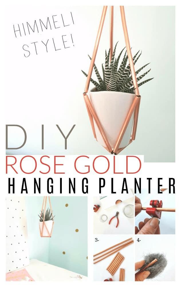 make a diy rose gold hanging planter
