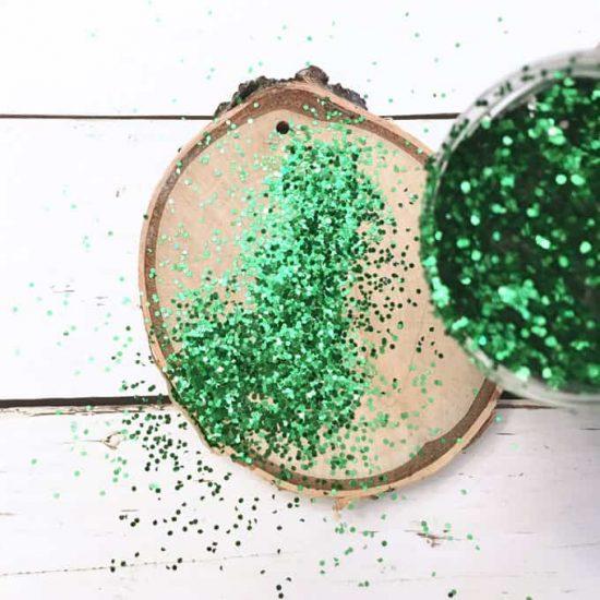 Glitter wood slice ornaments