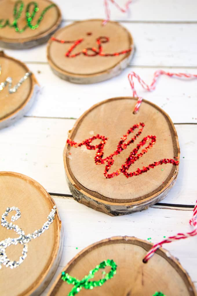 How to make glitter wood slice ornaments