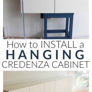 how to install a hanging credenza cabinet