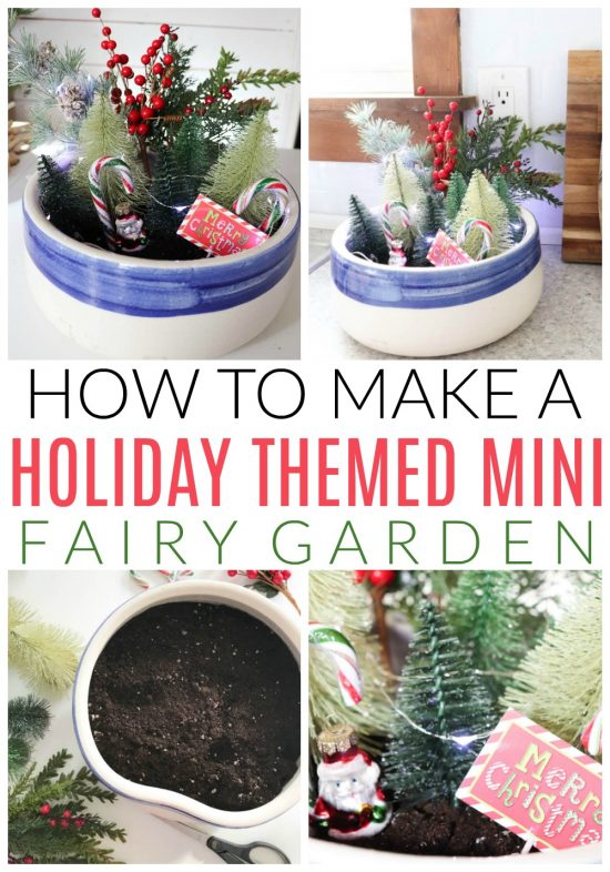 holiday themed mini fairy garden tutorial