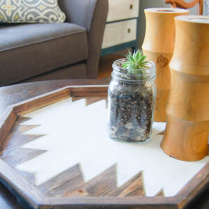 Close Up DIY Hexagon shaped boho tray