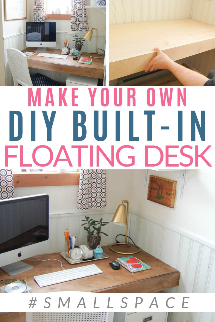 Make your own Built-in Floating Desk | Space Saving ...
