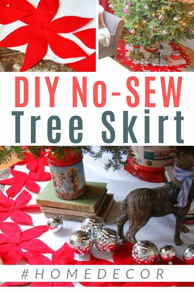 LOVE! Felt flowers and poinsettas for a tree skirt! Simple DIY Tutorial - CLICK for more #holiday #christmas #treeskirt #diypassion
