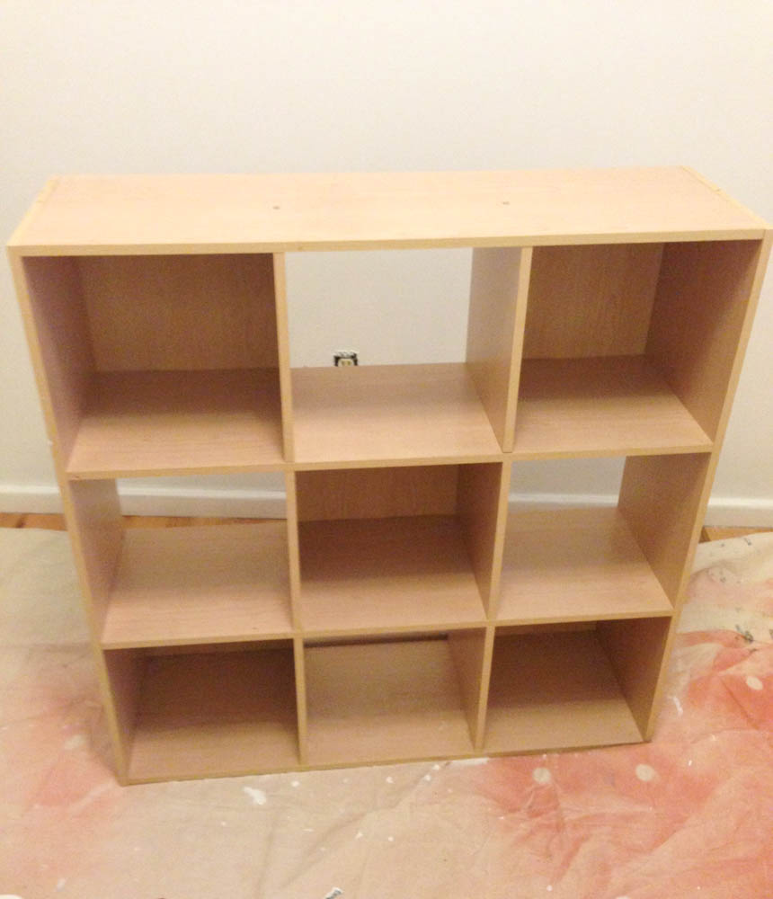 cube bookcase before painting