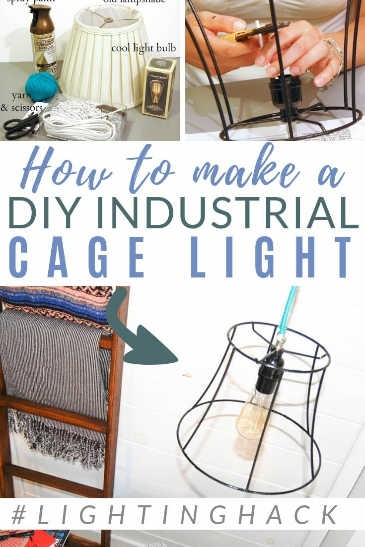 Industrial Light for less than $10!! This is SUCH a good hack idea - CLICK for the simple tutorial #lookforless #thrifty #industrialstyle #lighting #diypassion