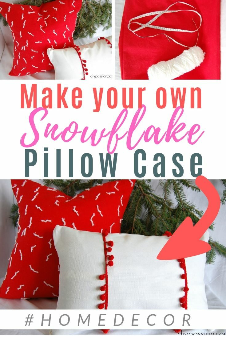 Decorative Christmas Pillows can be so expensive, but this DIY is super affordable and so modern! You can make this diy pillow case in a few minutes! #holiday #throwpillow #christmas #red #diypassion