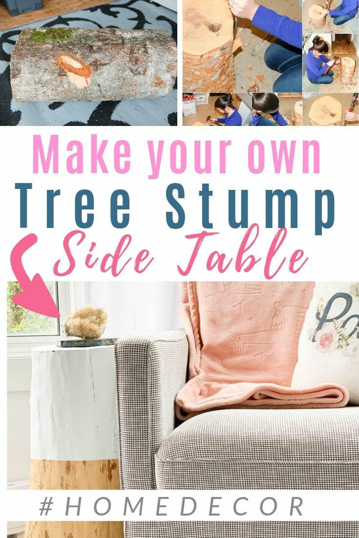 Make a tree stump side table for less than $15! This DIY is so worth it if you love #scandistyle and #hygge - CLICK for the full tutorial #diypassion #woodtable