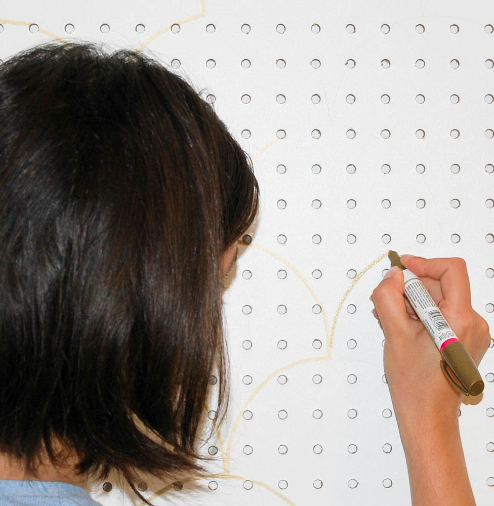 Using sharpie on the pegboard