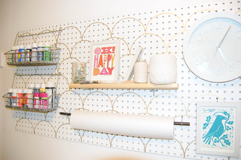 small space craft room peg board with stencil