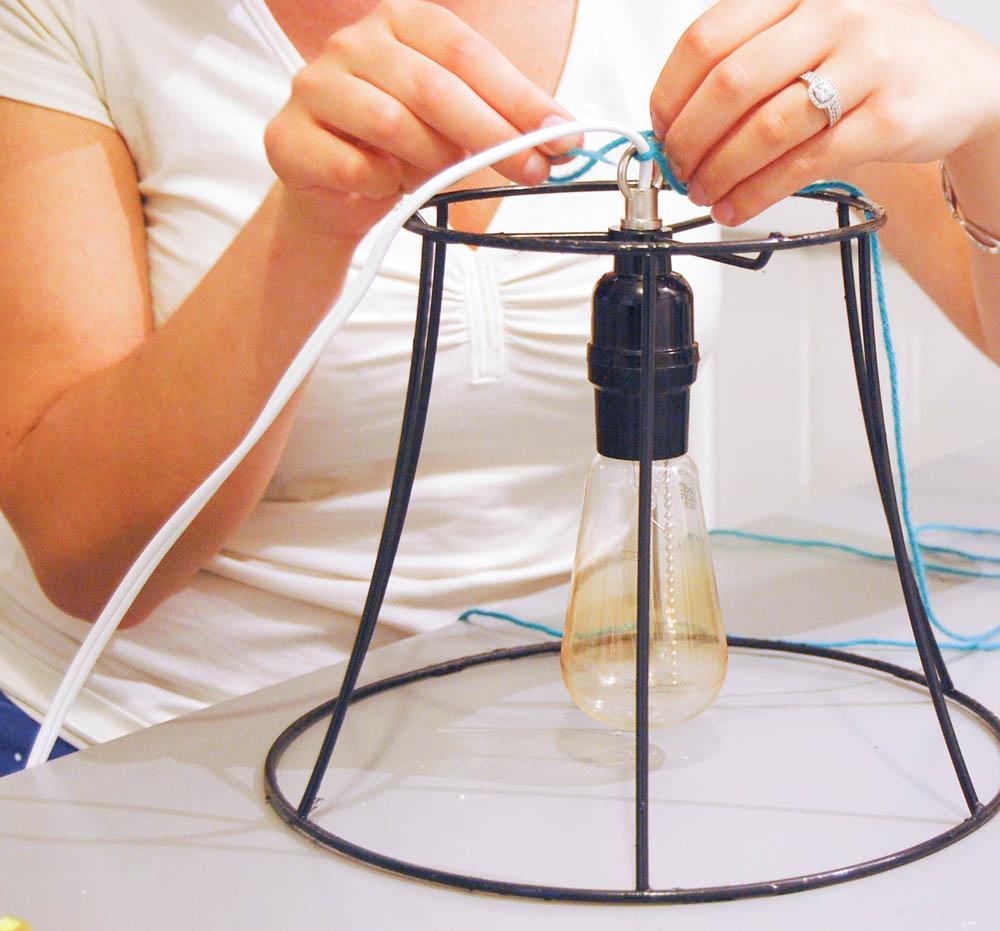 threading cord - industrial light DIY