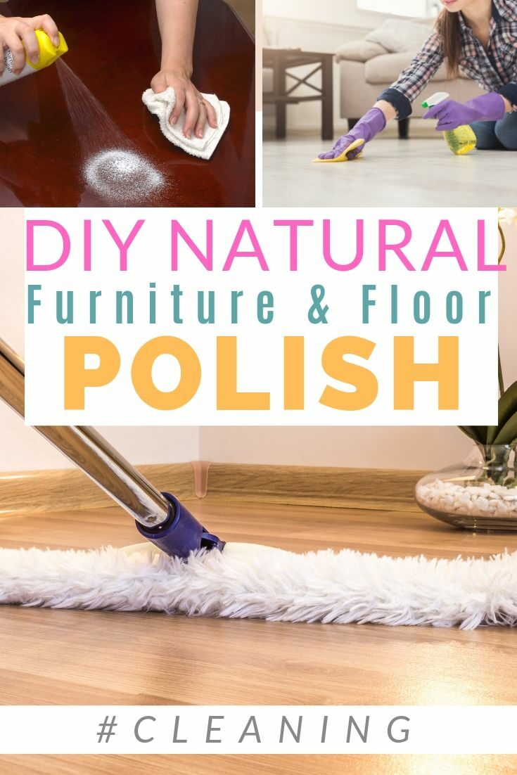 All natural furniture and floor polish recipe to make your wood SHINE! Actually moisturizes the wood and keeps it clean! Tips for using essential oils and vinegar. #cleaning #woodpolish