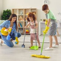 Family Cleaning House, Hygiene and kids enjoy