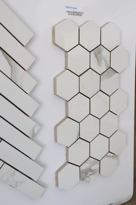 grey and white hexagon back splash tiles