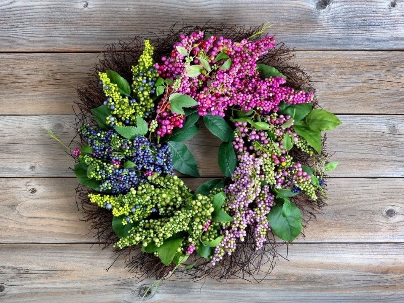 spring wreath outdoors