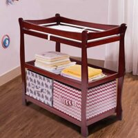 Wenst'sKufAN Infant Changing Table, Baby Diaper Changing Table Organization with Hamper and 2 Fixed Shelves, Newborn Nursery Station with Pad (Wine) image attachment (large)