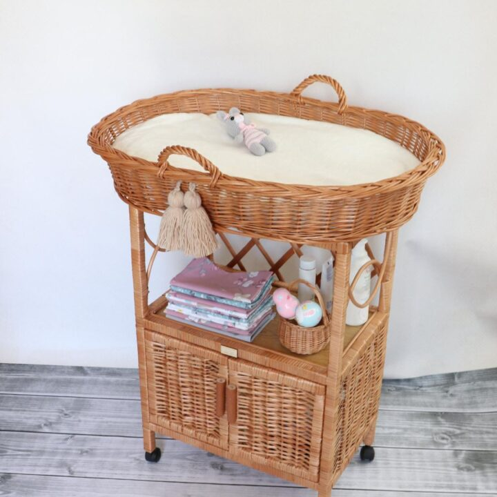 handmade changing table with baskets